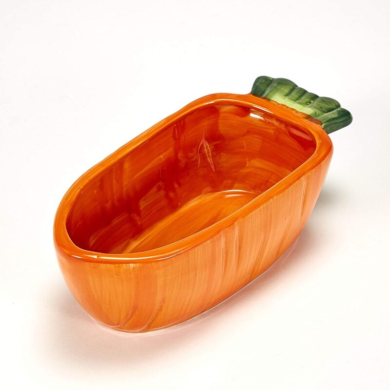 Carrot shaped bunny food bowl